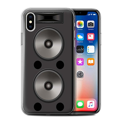 Stuff4 Gel TPU Hülle / Case für Apple iPhone X/10 / Pack 5pcs / Lautsprecher Design Kollektion Doppelt