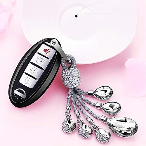ZYYSK Für 2019 Weiche TPU Autoschlüssel Fall Autoschlüssel Schutzhülle Für Nissan Infiniti Qx50 Q50L Tränen des Himmels Künstliche Kristall Anhänger,A-Black-Keyring (Infiniti Keyring)