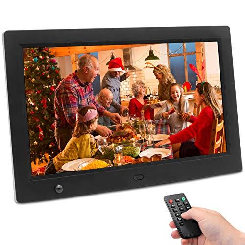 Digitaler Bilderrahmen 10 Zoll 1280x800 hochauflösendes Full-IPS-Display Foto/Musik/Video-Player Kalender Wecker automatischer EIN/aus Timer, unterstützt USB-und SD-Karte