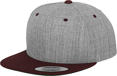 Flexfit Yupoong Unisex Kappe Classic Snapback 2-Tone, zweifarbige blanko Cap mit geradem Schirm, One Size Einheitsgröße für Männer und Frauen, Farbe h.grey/maroon