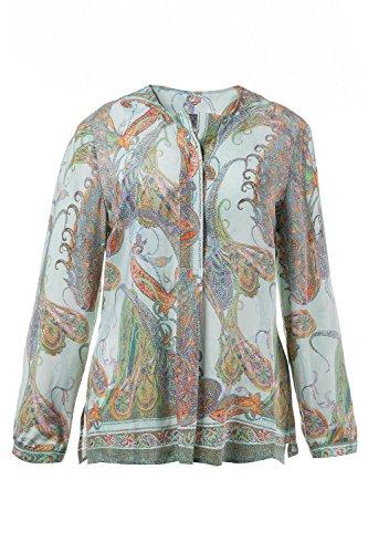 Ulla Popken Femme Grandes tailles   Chemise Manches longues TuniqueMini Robe Mousseline T-Shirt Tops Haut Blouse   704543 Multicolore