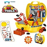 Saiyanshi Tool Set Toys For Kids, (Set Of 25 Pcs) Pretend PlaySet, Little Engineer Pretend Toolbox Construction Tools, Role Play Engineer Workshop Tool Kit