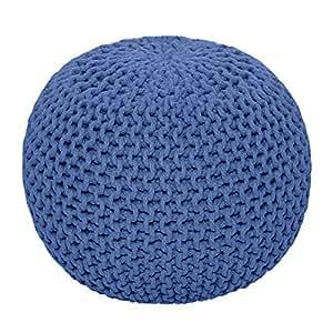 homescapes sitzhocker rund blau 40 x 35 cm sitzkissen strick pouf bodenkissen grob gestrickter. Black Bedroom Furniture Sets. Home Design Ideas