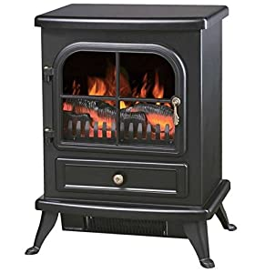 Black Freestanding 1.8kW Electric Fireplace - Includes Remote Control - Black Cast Iron Effect Finish - 2 Heating Setting