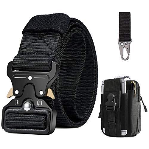 BESTKEE Cinturón táctico para hombres 1.5 pulgadas, estilo militar Cinturón con hebilla Cobra con cierre rápido de hebilla de metal, regalo con bolsa táctica Molle y gancho (Ejercito verde)