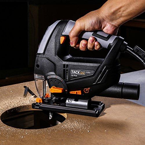 Stichsäge, Tacklife PJS02A Stichsäge mit Laser und Led-Lampe 800W,3000rpm, 100mm Schnitttiefen in Holz und 10mm in Metall, 22mm Hublänge,inkl.6 Sägeblatter - 6