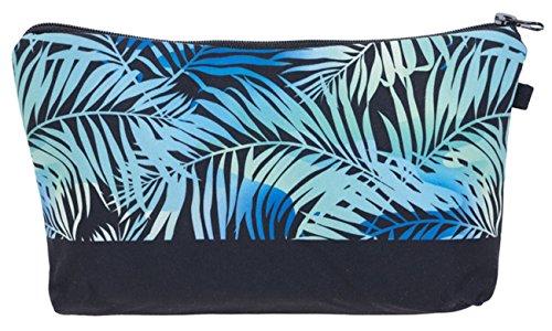 Kukubird Girls Printed Make Up Bag Wash Bag Toiletry Cosmetics Wallet Pencil Pen Holder Organiser Pouch Case - Blue Palm