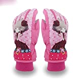Bambina Cartoon guanti sci ragazza rosa viola guanti impermeabile camoscio , pink , m