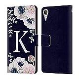 Head Case Designs Offizielle Nature Magick Buchstabe K Wasserfarben Blumen Monogramm 1 Leder Brieftaschen Huelle kompatibel mit HTC Desire 10 Lifestyle