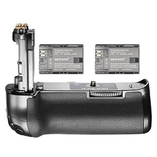Neewer NW-5D Mark IV Reemplazo de la batería Canon BG-E20 con 2 pilas recargables 7.4V 2000mAh LP-E6, adecuado para Canon EOS 5D Mark IV DSLR Cuerpo de la cámara