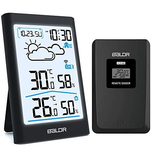 BETECK Estación meteorológica Inalámbrica, Termometro Higrometro Digital con Sensor inalámbrico...