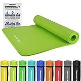 Gymnastikmatte Premium | inkl. Übungsposter | Hautfreundliche - Phthalatfreie Fitnessmatte - Lindengrün - 190 x 100 x 1,5 cm - sehr weich - extra dick | Yogamatte