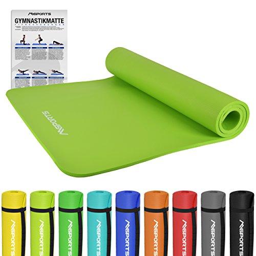 Gymnastikmatte Premium | inkl. Übungsposter | Hautfreundliche - Phthalatfreie Fitnessmatte - Lindengrün - 190 x 100 x 1,5 cm - sehr weich - extra...