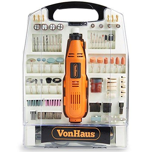 VonHaus Multiherramienta Amoladora Rotativa Oscilante 135 W – Juego de 232 piezas accesorios, Velocidades variables, Multifuncional