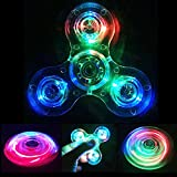 REENUO New Style Crystal Clear LED Light Fidget Spinner -High Speed Hand Spinner Tri-Spinner for Kids Adults EDC ADHD Focus Anxiety Relief Toys (Crystal-Blue)
