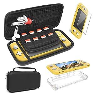 FASTSNAIL Schutzhülle für Nintendo Switch Lite, 4 in 1, tragbares Zubehör-Kit, weiche Schutzhülle und gehärtetes Glas