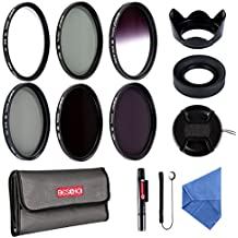 Beschoi - Kit de Filtros Juego de 13 Piezas 58MM (UV CPL, ND2 ND4 ND8) + Filtro de Color Gris Graduado + Flor Tulipán Capa de Lente + Centro Pinch Tapa del Objetivo + Parasol de Objetivo Plegable + Centro Pinch Tapa del Objetivo + Piño de Limpieza de Micrifibra + Pluma de Limpieza + Tapa de Keeper Correa + Funda de Filtro, Pack de filtros para cámaras digitales para Nikon D5300 D5200 D5100 D3300 D3200 D3100 DSLR Cámaras
