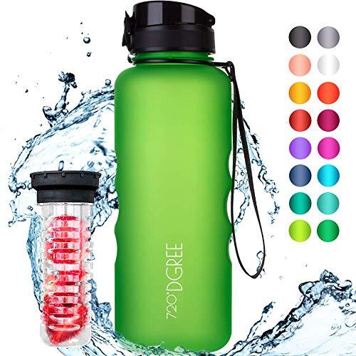 """720°DGREE Trinkflasche \""""uberBottle\"""" - 1,5 Liter, 1500ml, Grün - Neuartige Tritan Wasser-Flasche - Water Bottle BPA Frei - Ideale Sportflasche für Kinder, Fitness, Fahrrad, Sport, Fussball"""