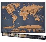 Weltkarte zum Rubbeln, Rubbel Weltkarte mit Plektrums, Geschenk und Erinnerung für Reisende (XXL-Schwarz   82 x 60 cm),von Tarent
