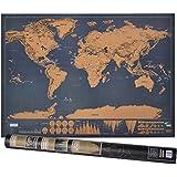 Weltkarte zum Rubbeln, Rubbel Weltkarte mit Plektrums, Geschenk und Erinnerung für Reisende (XXL-Schwarz | 82 x 60 cm),von Tarent