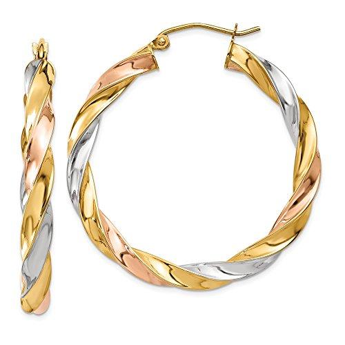 14K Tricolor Licht Twisted Hoop Ohrringe (Hoop Ohrringe Tri-color)