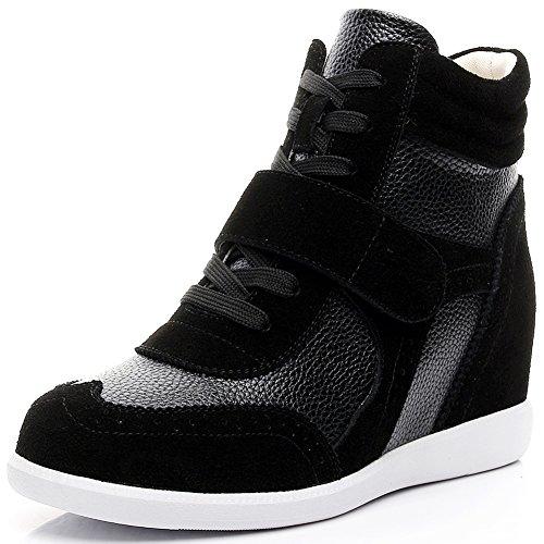 rismart Donna Tacco a Zeppa Hook&Loop Brogue Alto Cima Confortevole Elegante Sneaker Scarpe SN8599(Nero,EU38)