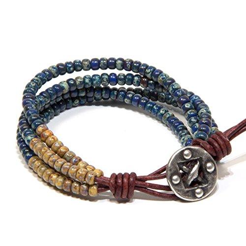 Männerarmband echtes Leder 4Reihen Beige Lapisblau Geschenk für sie Geschenk für ihn für Herren