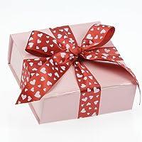 ceco box–lucido rosa Valentine pieghevole/riutilizzabile confezione regalo (10CMX10CMX4CM) con 2,7m di nastro rosso - Rosa Lucido Gift Box