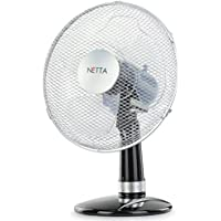 NETTA 3-Speed Oscillating Desk Fan, 12 Inch – Black/Silver