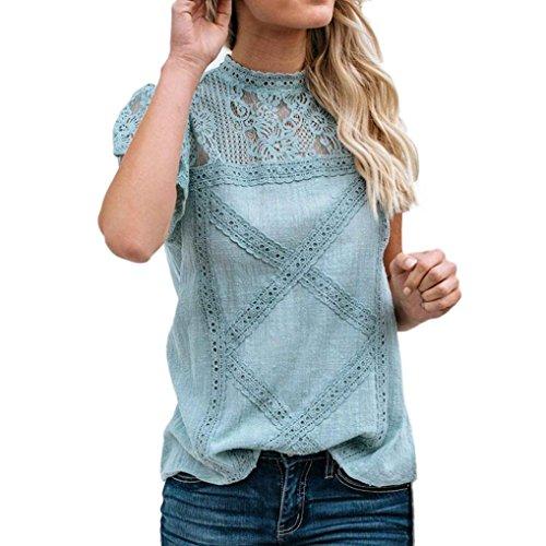 Grün Floral Bluse (TIFIY Womens Casual Spitze Patchwork Flare Rüschen Kurzarm Sommer Cute Floral Shirt Lose Bluse Top (X-Large, A_Grün))