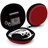 MyGadget Etui Universel pour écouteurs In Ear - Pochette de Protection Rigide Earplug, iPod Shuffle, Stick USB, Câble - Transport Case Multifonction Rouge