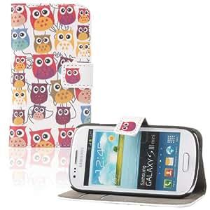 tinxi® Kunstleder Tasche für Samsung Galaxy S3 Mini i8190 Flipcase Schale Etui Skin Tasche Cover mit Karten Slot viele Eulen Owls in weiß