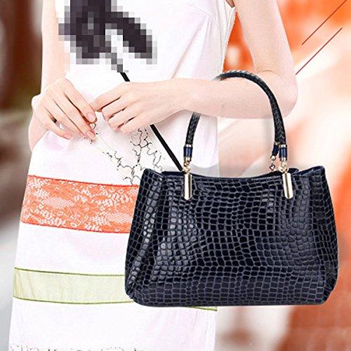 Krokodil Textur Mode Leder Leder-Handtasche Schultertasche Multicolor Blue