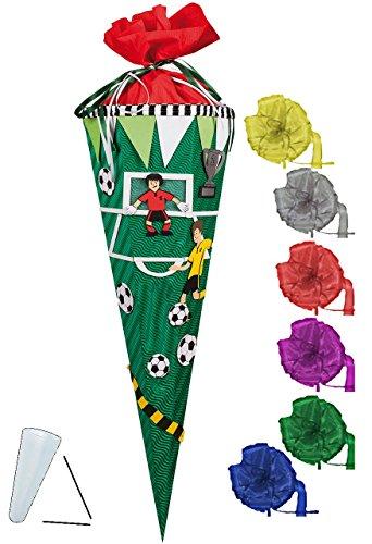 bastelset-schultute-fussball-spieler-fussballfeld-85-cm-incl-schleife-mit-ohne-kunststoff-spitze-zuc