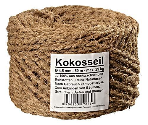 Humusziegel Corde en fibre de coco, diamètre 4.5 mm - Corde marron 100 % fibres de coco, couleur naturelle - Longueur : 50 m