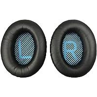 MMOBIEL Reemplazo de almohadillas para auriculares BOSE Quiet Comfort QC2/ QC15/ QC25/ QC35/ Sound True/ AE2/ AE2i/ AE2 inalámbrico AE2-W hechas de proteína de cuero con espuma de memoria (Negro / Azul)