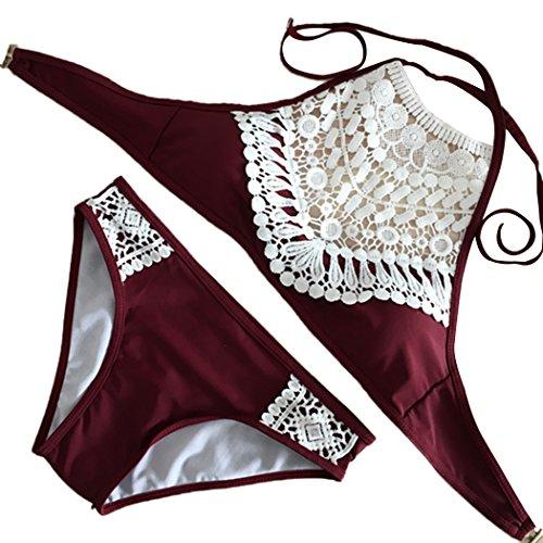 Summer Mae Damen Triangel-Neckholder-bikini Bikini-set Gehäkelt Bademode ,Weinrot ,L