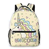 REDB Yellow Funny Pattern Unicorn Backpack Rucksack School Student Bag Girls Boys Kids Shoulder Bag Daypack
