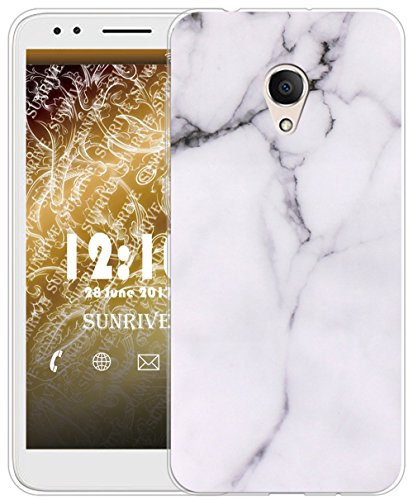 Sunrive Für Alcatel 1X Hülle Silikon, Transparent Handyhülle Schutzhülle Etui Case für Alcatel 1X 5059D(TPU Marmor Weißer)+Gratis Universal Eingabestift
