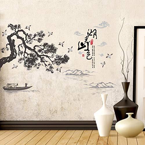 LINDAN Wandaufkleber Chinesischen Stil Landschaftsmalerei Für Tv Baum Boot Vögel Wohnkultur Kunst PVC Vinyl Wandtattoos Kreative Tapeten -