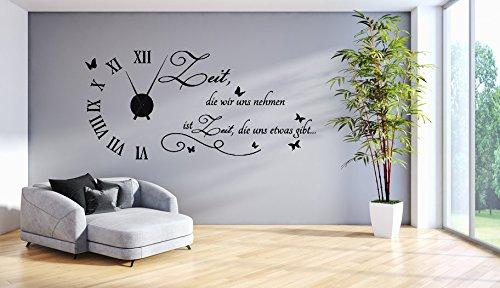 tjapalo® s-tku1-s Wanduhr Wandtattoo Uhr spruch Wohnzimmer Wandsticker Wandaufkleber Spruch - Zeit die wir uns nehmen - mit und ohne schwarzem Metall Uhrwerk (125x58cm(mit schwarzem Uhrwerk)) (Wandtattoo Mit Uhr)