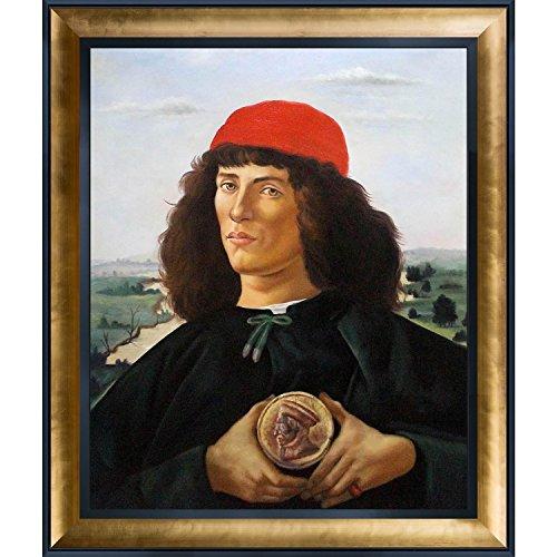 overstockart Portrait Of A Man mit Die Medaille von Cosimo Botticelli Sandro mit Gold Luminoso und schwarz Combo Rahmen (Gold-medaille-combo)