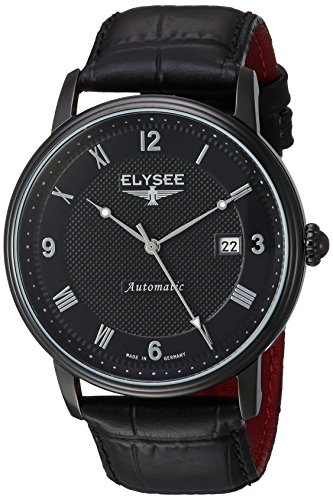 ELYSEE MEN'S MONUMENTUM AUTOMATIC 41MM LEATHER BAND IP STEEL CASE WATCH 77007
