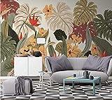 (140X70CM), Alte Zeitung 3D tapete - Nordic tropische Pflanze Bananenblatt Jahrgang - Wallpaper Poster Wanddekor von Bestwind