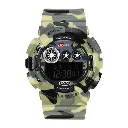 Herren Uhren Tauchen (TTLIFE TS15 Sport Uhr Mann Tauchen kampierende wasserdichte Uhr für Männer (Armee Gelb))