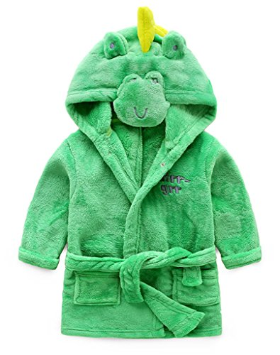 Fortuning's JDS® Dinosaurio de la historieta de franela con capucha traje de baño para los niños