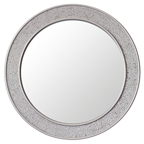 Glamour by Casa Chic Round Mosaic Wall Silver Mirror - Large - 60 Centimetres diameter - Bathroom Lounge Hallway