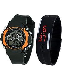 LEMONADE - Pack Of 2 Multifunction Sports Kids Watch & Unisex Digital LED Bracelet Band Wrist Watch - Combo Offer