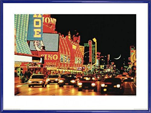 1art1 Las Vegas Poster Kunstdruck und Kunststoff-Rahmen - Fremont Street, Las Vegas (80 x 60cm)