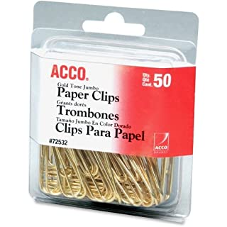 Acco Gold Tone Paper Clips - Jumbo - 50 / Pack - Gold by ACCO Brands